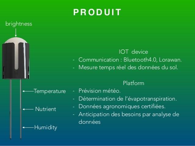 P R O D U I T brightness Temperature Nutrient Humidity IOT device - Communication : Bluetooth4.0, Lorawan. - Mesure temps ...