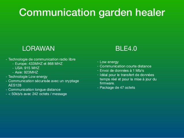 Communication garden healer LORAWAN BLE4.0 - Technologie de communication radio libre  - Europe: 433MHZ et 868 MHZ  - USA:...