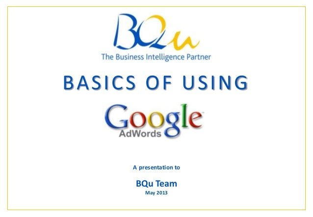 The Business Intelligence Partner Page 1 1 BASICS OF USING A presentation to BQu Team May 2013