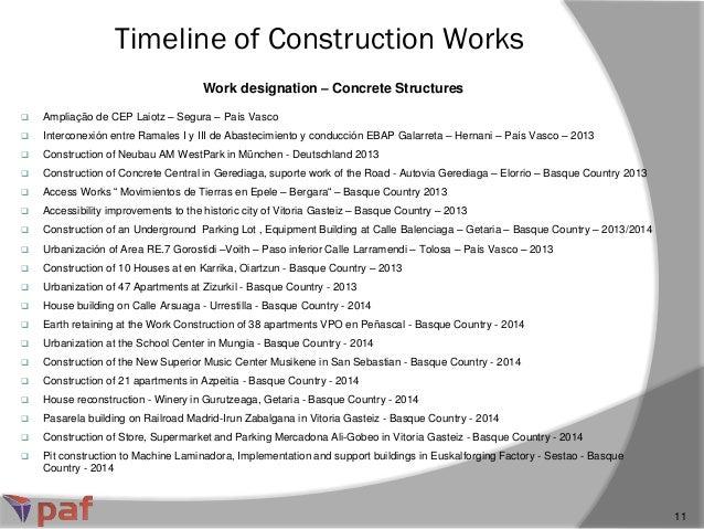 Work designation – Concrete Structures Timeline of Construction Works 11  Ampliação de CEP Laiotz – Segura – País Vasco ...