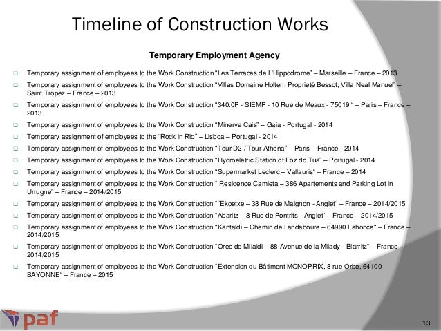 Temporary Employment Agency Timeline of Construction Works 13  Temporary assignment of employees to the Work Construction...