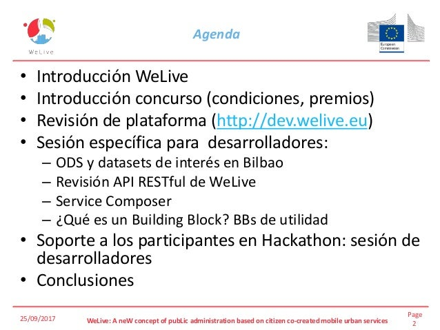 Hackathon WeLive: Co-creación de Apps Urbanas Slide 2