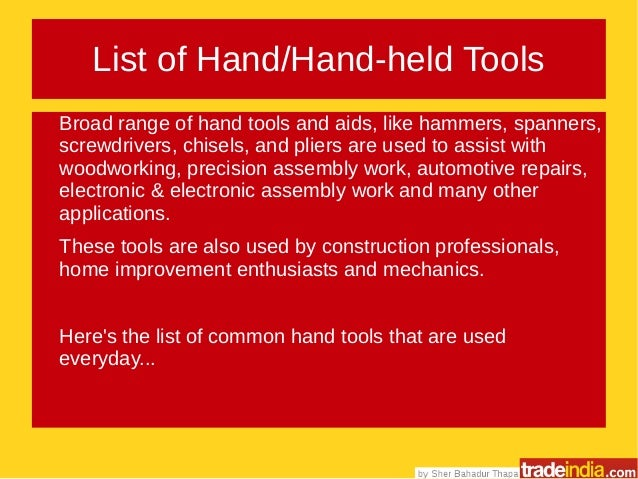 List Of Hand Manual Tools How To Buy Them In Bulk