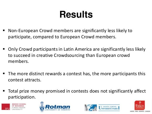 Results  Non-European Crowd members are significantly less likely to participate, compared to European Crowd members.  O...
