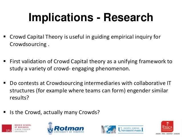 Implications - Research  Crowd Capital Theory is useful in guiding empirical inquiry for Crowdsourcing .  First validati...