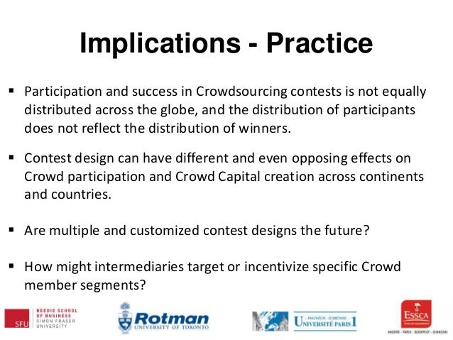 Implications - Practice  Participation and success in Crowdsourcing contests is not equally distributed across the globe,...
