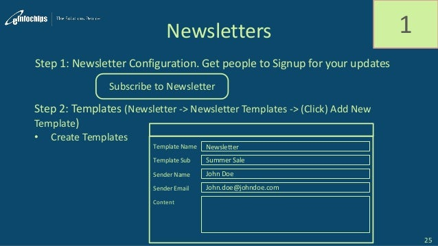 Newsletters Step 1: Newsletter Configuration. Get people to Signup for your updates Step 2: Templates (Newsletter -> Newsl...
