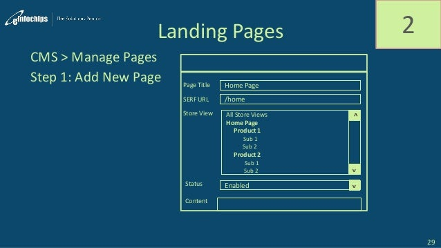 Landing Pages 2 Step 1: Add New Page 29 CMS > Manage Pages Home Page /home Page Title SERF URL All Store Views Home Page P...