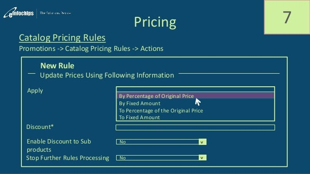 Pricing 7 Catalog Pricing Rules Promotions -> Catalog Pricing Rules -> Actions Update Prices Using Following Information A...