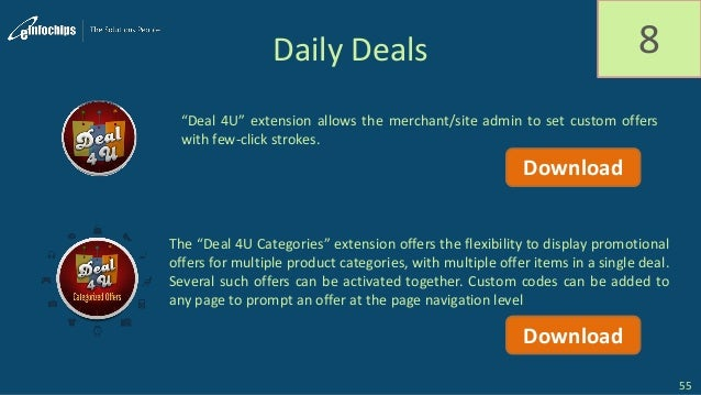"""Daily Deals 8 """"Deal 4U"""" extension allows the merchant/site admin to set custom offers with few-click strokes. The """"Deal 4U..."""