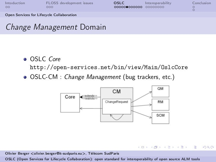 Intoduction            FLOSS development issues             OSLC              Interoperability          ConclusionOpen Ser...