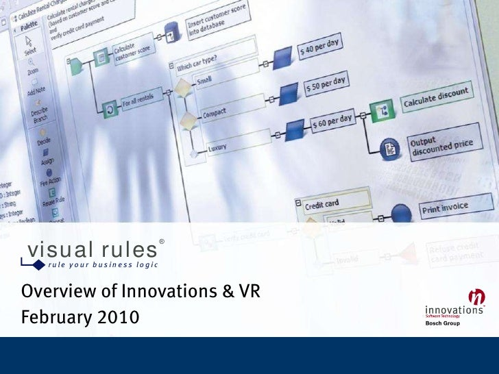 ®   visual rules            ru le yo u r bu sin e ss lo gic   Overview of Innovations & VR February 2010  Visual Rules   •...