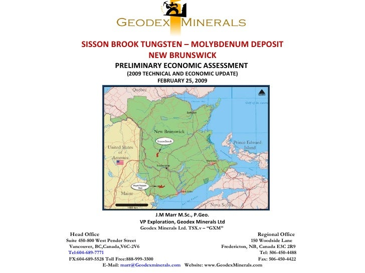 SISSON BROOK TUNGSTEN – MOLYBDENUM DEPOSIT NEW BRUNSWICK PRELIMINARY ECONOMIC ASSESSMENT  (2009 TECHNICAL AND ECONOMIC UPD...