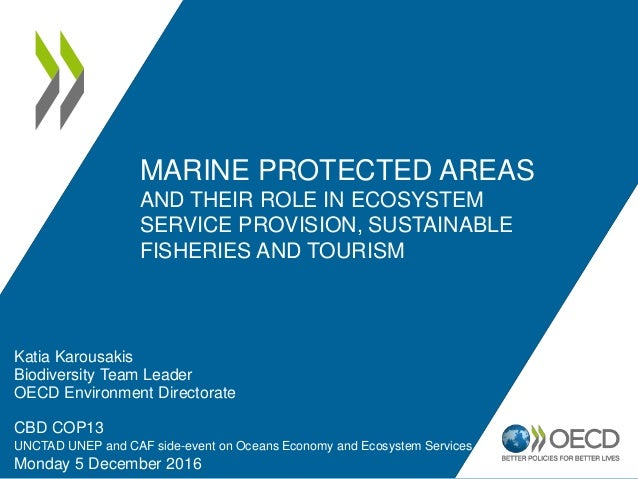 MARINE PROTECTED AREAS AND THEIR ROLE IN ECOSYSTEM SERVICE PROVISION, SUSTAINABLE FISHERIES AND TOURISM Katia Karousakis B...