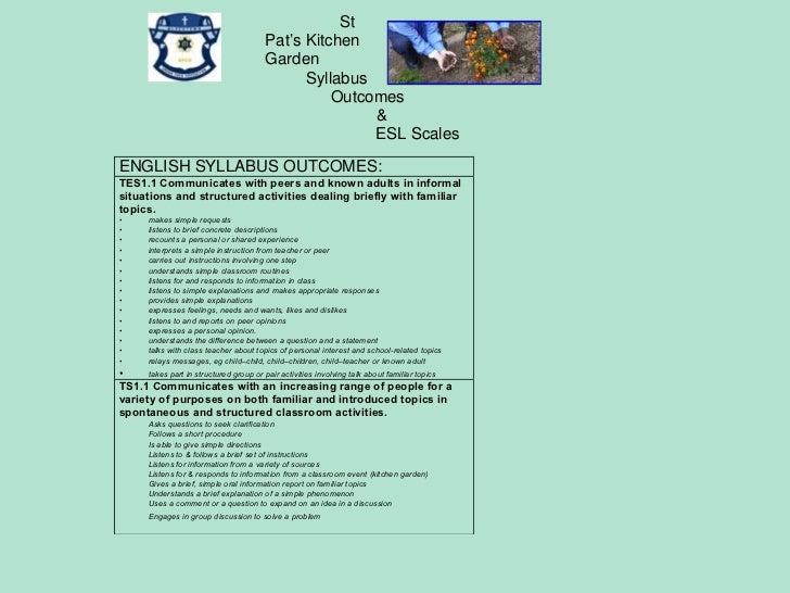 Oral Language program for St Pats Kitchen Garden