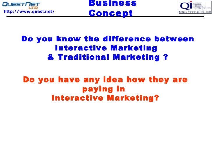Business Concept  Do you know the difference between Interactive Marketing  & Traditional Marketing ? Do you have any idea...