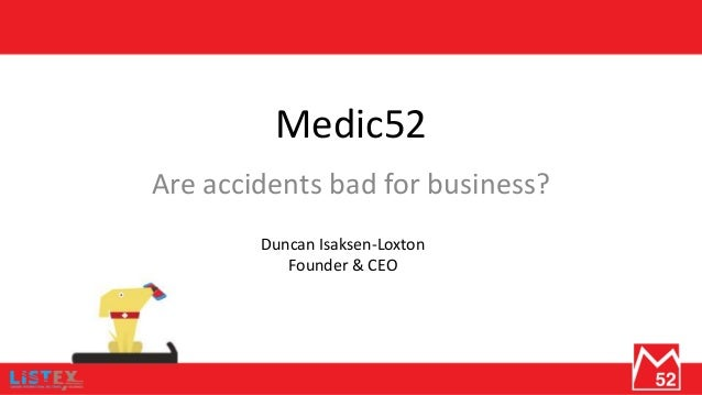 Medic52 Are accidents bad for business? Duncan Isaksen-Loxton Founder & CEO