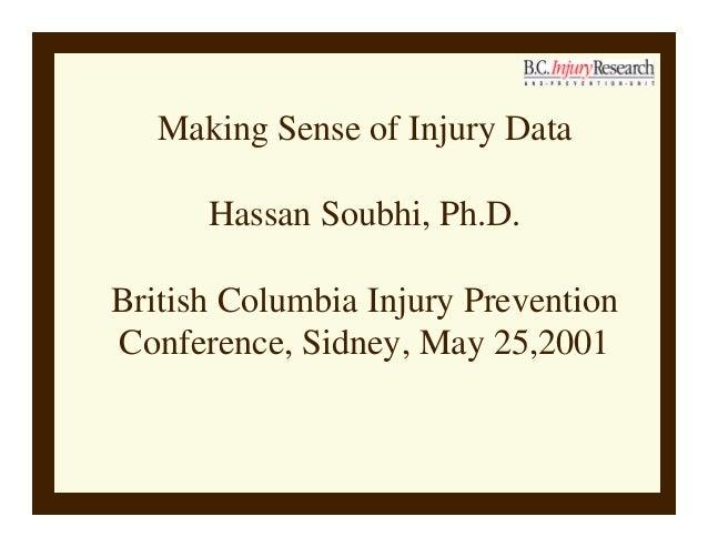Making Sense of Injury Data Hassan Soubhi, Ph.D. British Columbia Injury Prevention Conference, Sidney, May 25,2001