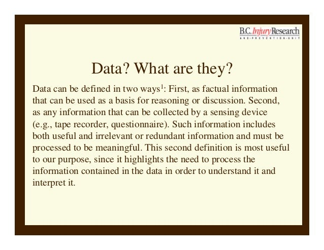 Making sense of injury data Slide 3