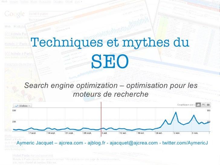 Techniques et mythes du SEO Search engine optimization – optimisation pour les moteurs de recherche