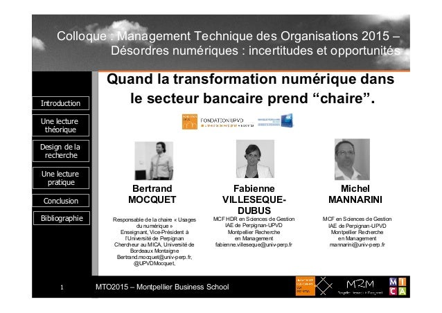 Introduction Une lecture théorique MTO2015 – Montpellier Business School1 Une lecture pratique Conclusion Design de la rec...