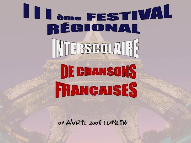 INTERSCOLAIRE DE CHANSONS FRANÇAISES