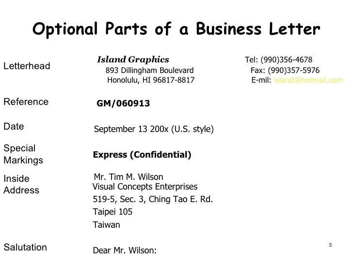 Presentation Of Business Documents ch1 – Parts of a Business Letter