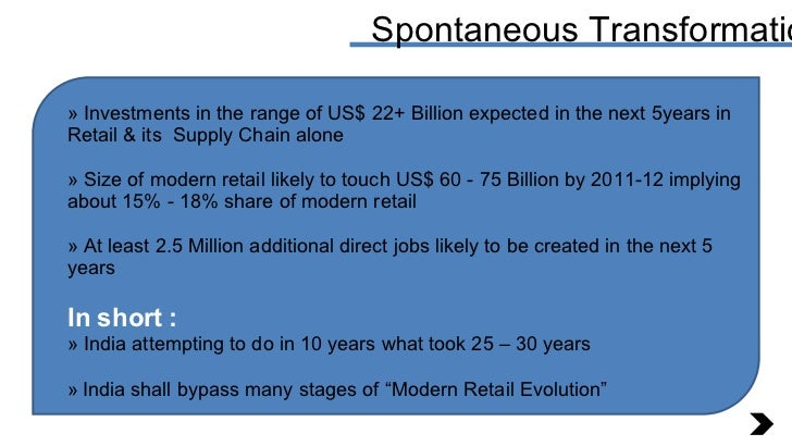 Spontaneous Transformation <ul><li>Investments in the range of US$ 22+ Billion expected in the next 5years in Retail & its...