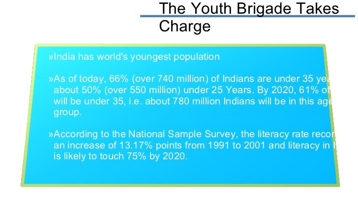 The Youth Brigade Takes Charge <ul><li>India has world's youngest population </li></ul><ul><li>As of today, 66% (over 740 ...