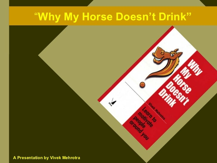 """Why My Horse Doesn't Drink""     A Presentation by Vivek Mehrotra"