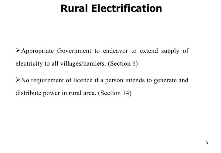 Electricity Act 2003 Salient Features