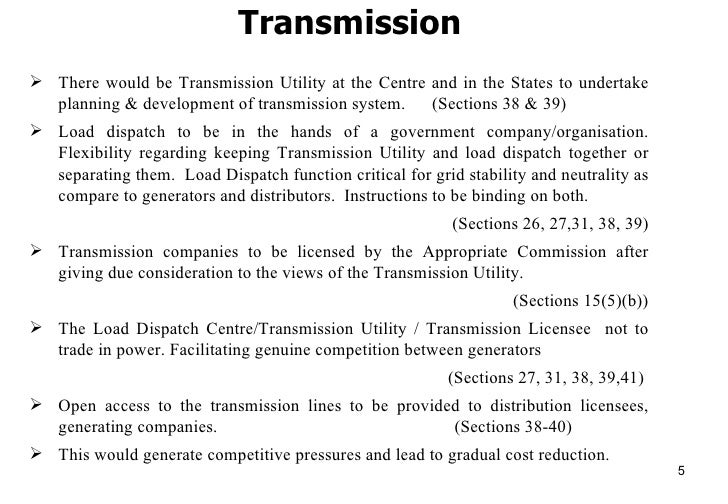 Electricity Act 2003 Features