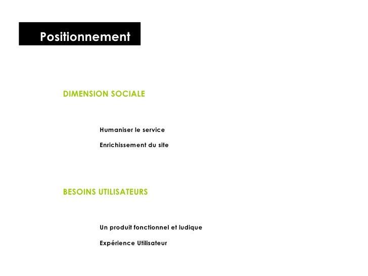 Positionnement DIMENSION SOCIALE Humaniser le service Enrichissement du site BESOINS UTILISATEURS Un produit fonctionnel e...