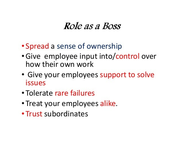 sense of ownership A business thrives when all employees feel a sense of ownership over its success some companies foster this sense through employee stock options, but even in offices without the financial incentive, managers can take certain steps to ensure each employee has a personal stake in team-wide endeavors.