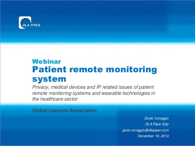 Webinar  Patient remote monitoring system Privacy, medical devices and IP related issues of patient remote monitoring syst...