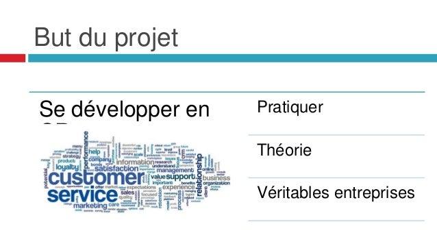 But du projet Se développer en CR Pratiquer Théorie Véritables entreprises