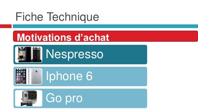 Fiche Technique Motivations d'achat Nespresso Iphone 6 Go pro