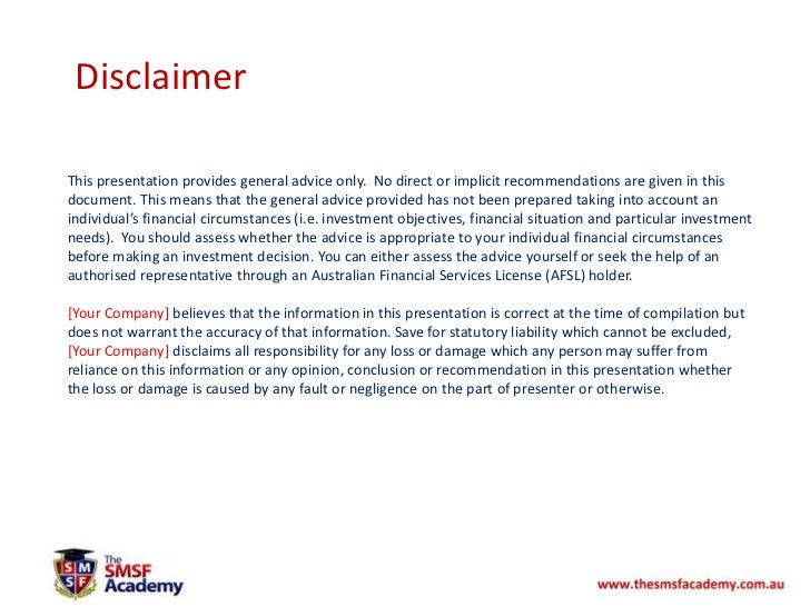 property disclaimer template property investing within a smsf