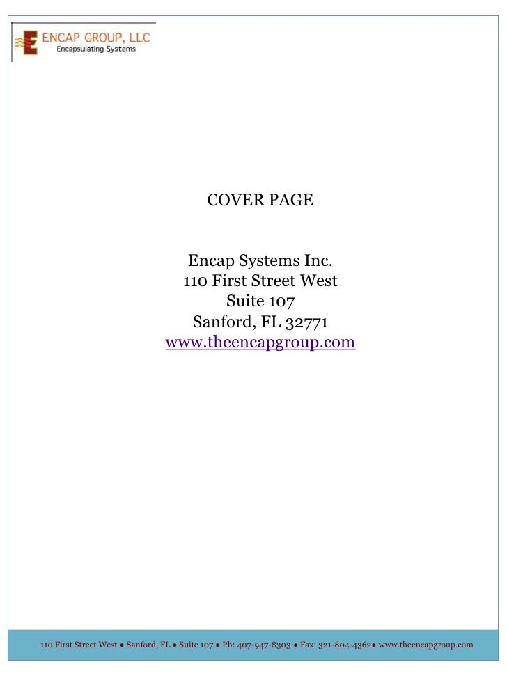 COVER PAGE<br />Encap Systems Inc.<br />110 First Street West<br />Suite 107<br />Sanford, FL 32771<br />www.theencapgroup...