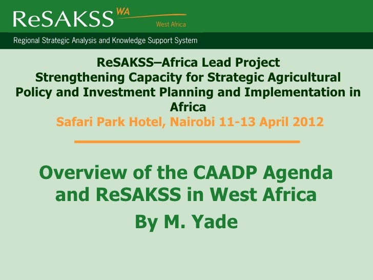 ReSAKSS–Africa Lead Project   Strengthening Capacity for Strategic AgriculturalPolicy and Investment Planning and Implemen...