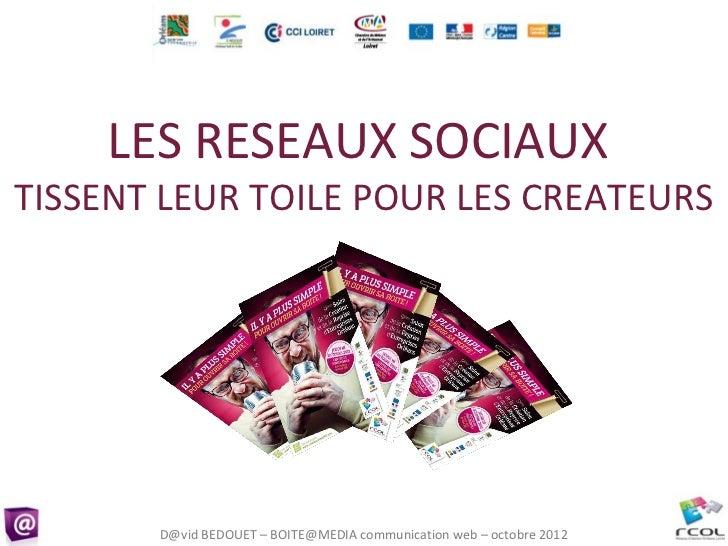 LES RESEAUX SOCIAUXTISSENT LEUR TOILE POUR LES CREATEURS       D@vid BEDOUET – BOITE@MEDIA communication web – octobre 2012