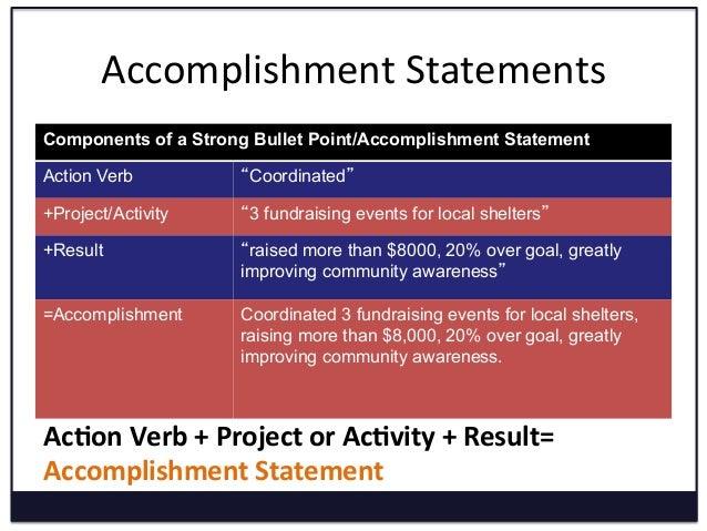 accomplishment verbs list