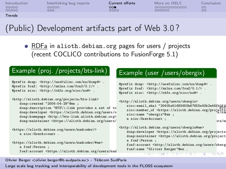 Introduction          Interlinking bug reports         Current efforts          More on OSLC          ConclusionTrends(Publ...