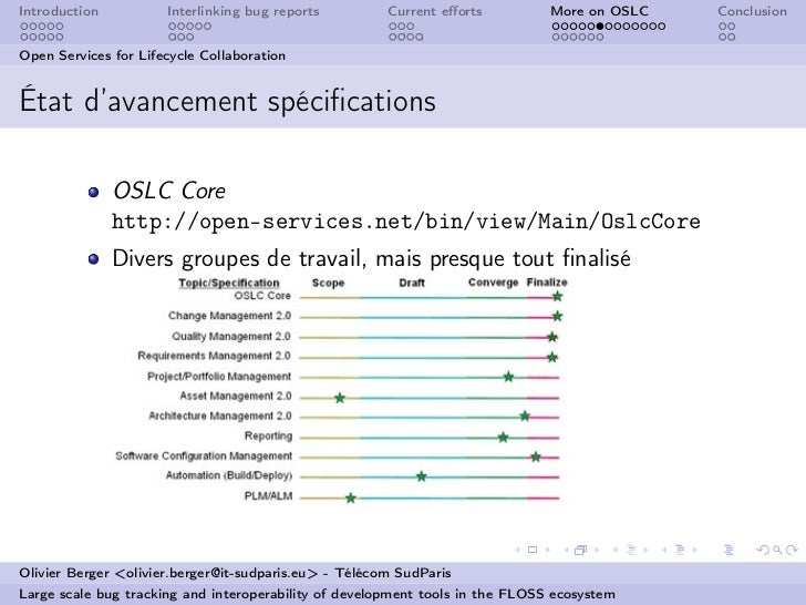 Introduction          Interlinking bug reports         Current efforts          More on OSLC   ConclusionOpen Services for ...