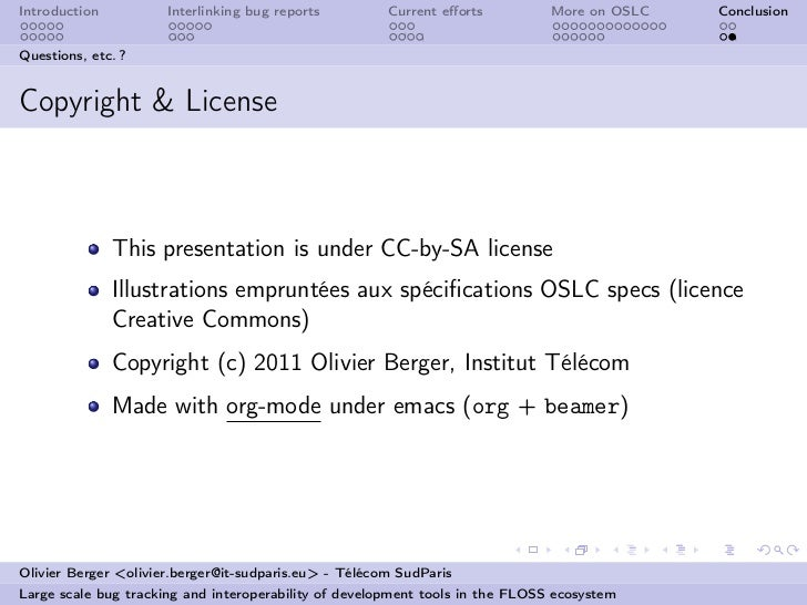 Introduction          Interlinking bug reports         Current efforts          More on OSLC   ConclusionQuestions, etc. ?C...