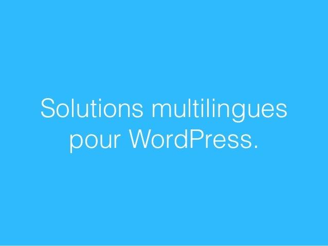 Solutions multilingues pour WordPress.
