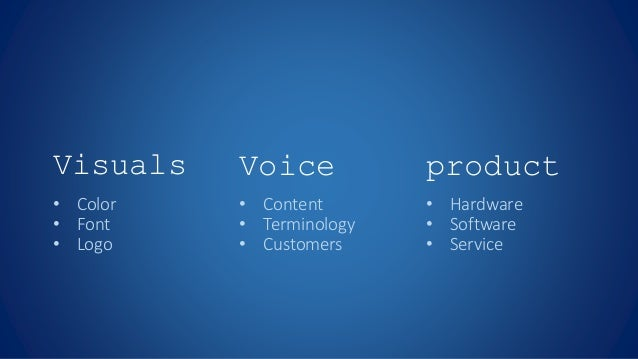 Visuals Voice product • Color • Font • Logo • Content • Terminology • Customers • Hardware • Software • Service