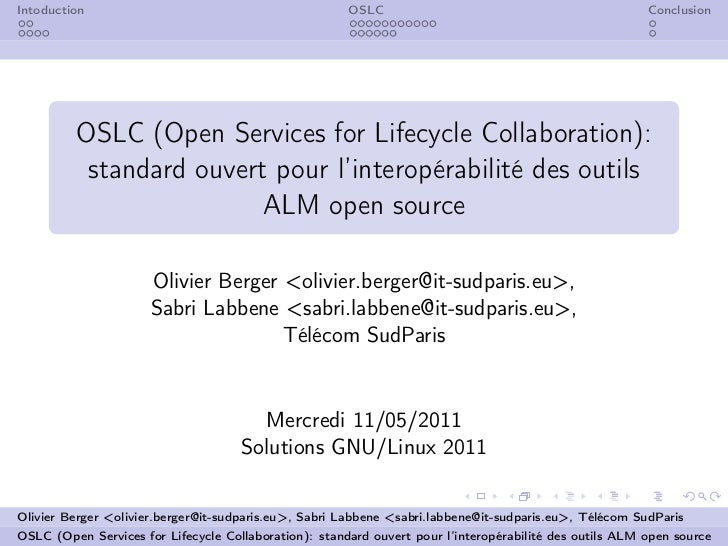 Intoduction                                            OSLC                                              Conclusion       ...