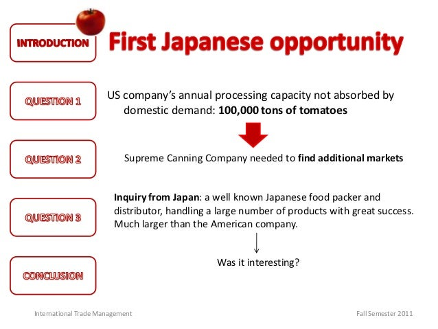 supreme canning company essay Discuss the management problems facing multinational companies and discuss the management problems facing multinational supreme canning company.