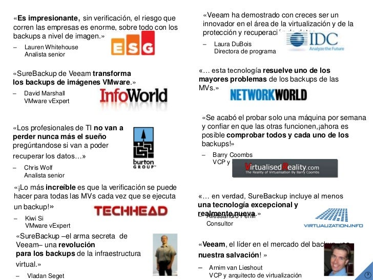 «SureBackup –el arma secreta  de Veeam– una revoluciónpara los backups de la infraestructura virtual.»<br />–Vladan Seget...